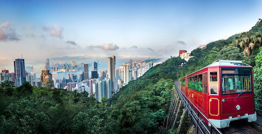 De wereldberoemde skyline en het trammetje op weg naar de top van The Peak.