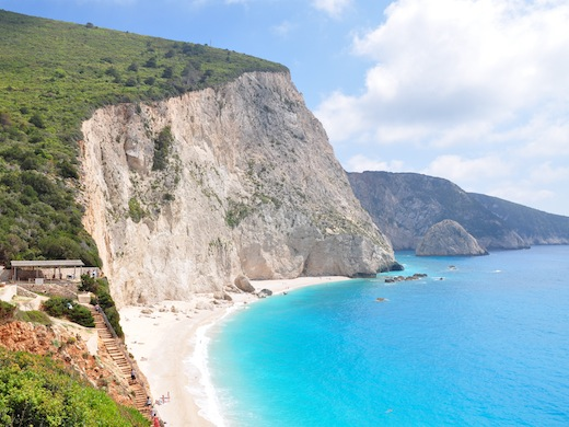 Het prachtige strand Porto Katsiki op het eiland Lefkas.